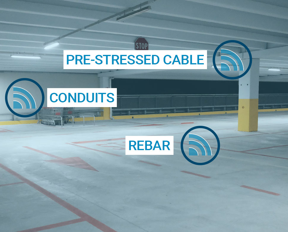Florida Concrete Scanning Services use GPR to discover pre-stressed cable, conduits, rebar and more in concrete structures | Florida Concrete Scanning